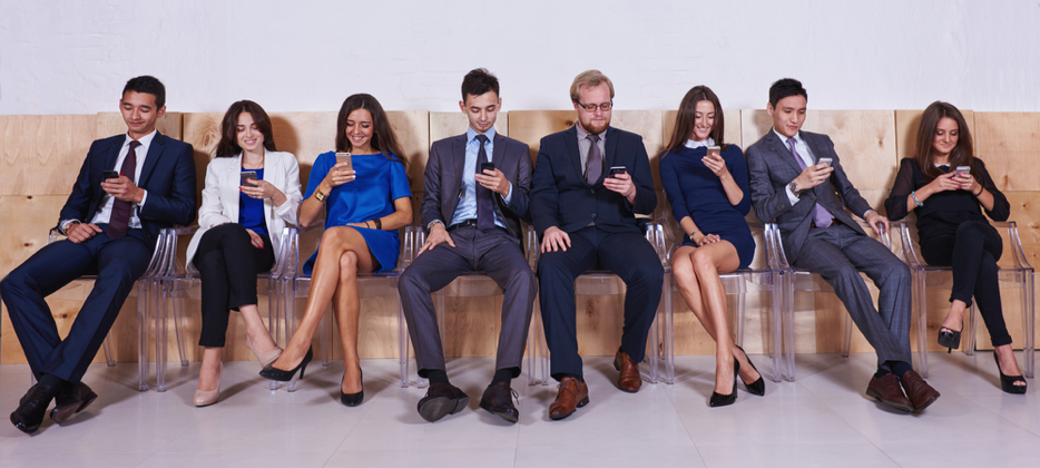 businesspeople on smartphones