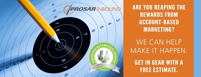 Link to PROSAR Inbound landing page for account-based marketing free estimate.